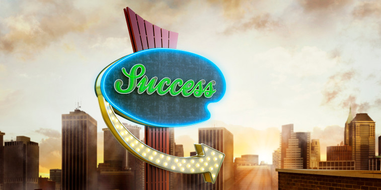 a neon road sign pointing to success