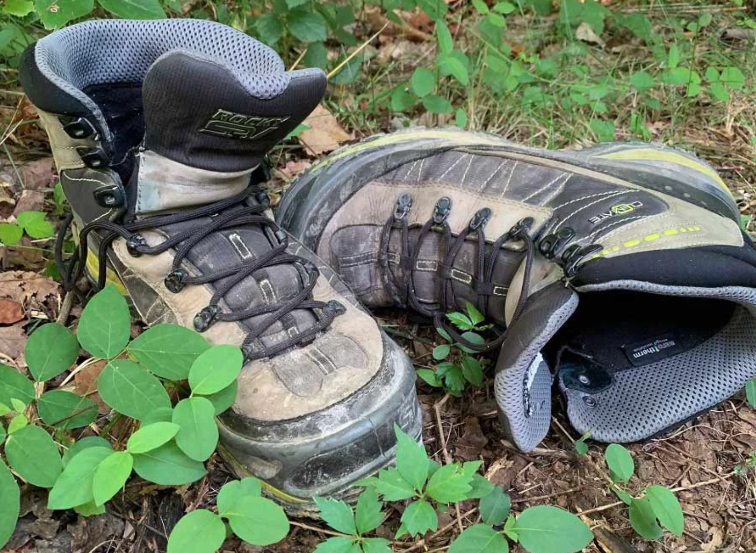 hiking boots on a forest floor