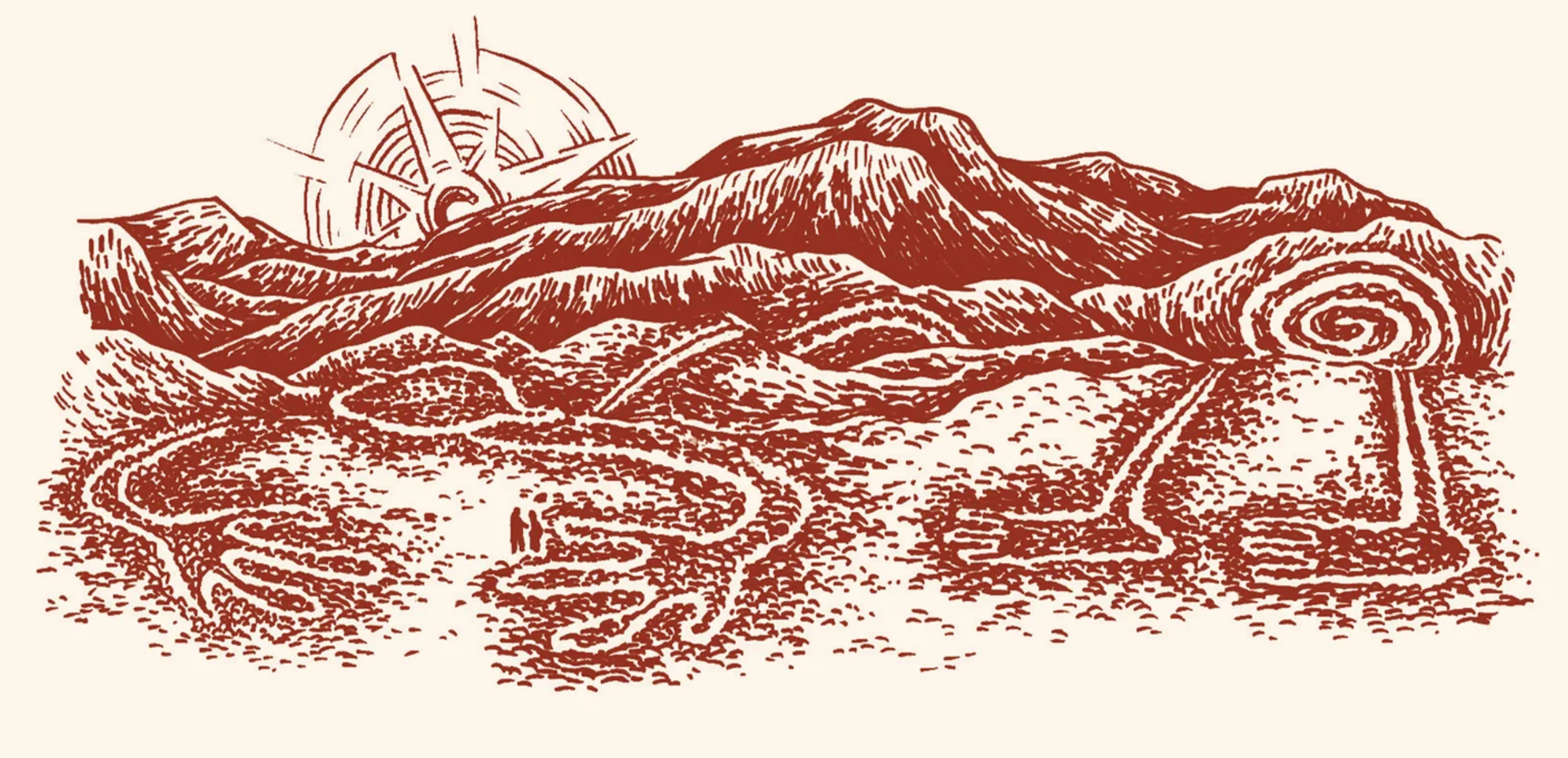 sketch of terrain with manmade lines
